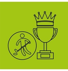 silhouette person hockey winner sport vector image