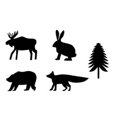Siluettes forest animals black and white vector