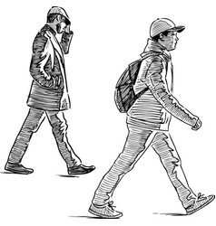 Sketch casual urban pedestrians vector
