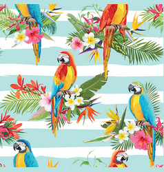 tropical flowers and parrot seamless background vector image