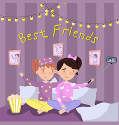 Two girls in pajamas making selfie while sitting vector