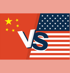 United states of america flag and china flag vector