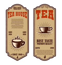 vintage tea shop flyer templates design elements vector image