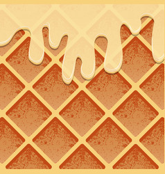 Waffles in condensed milk a realistic texture of vector