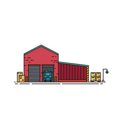 Warehouse built of red brick with roller doors and vector