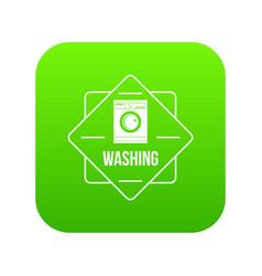 Washing icon green vector