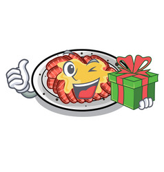 With gift carpaccio isolated with in mascot vector