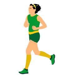 Woman marathon racer running sport lady jogging vector