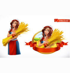 Woman with a sheaf of wheat peasant farmer vector