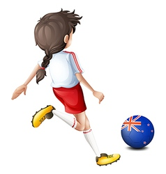 A lady kicking the ball with the flag of new vector