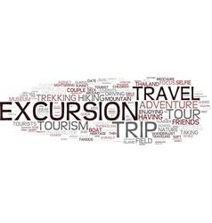 excursion word cloud concept vector image vector image