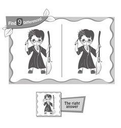 find 9 differences game wizard vector image vector image