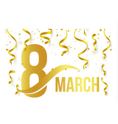 isolated golden color number 8 with word march vector image