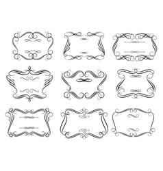 Retro curlicue frames or cartouches in romantic vector image