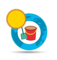 vacation around world sunny sand bucket vector image