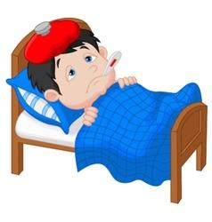 Cartoon Sick boy lying in bed vector image