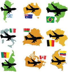 fly me to the Argentina Brazil Australia Italy Bel vector image vector image
