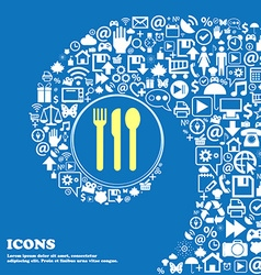 fork knife spoon sign symbol Nice set of beautiful vector image