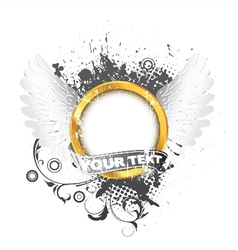 gold label with wings and grunge vector image vector image