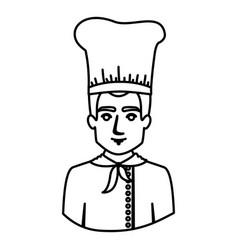 monochrome contour half body of male chef vector image vector image