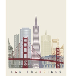 San Francisco skyline poster vector image vector image