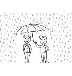 sketch two cartoon men under umbrella vector image