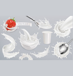 yogurt milk splashes set 3d elements package vector image vector image