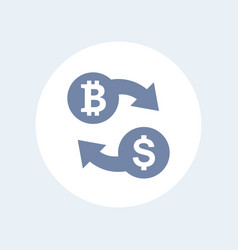 bitcoin to usd exchange icon isolated on white vector image