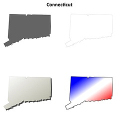 Connecticut outline map set vector