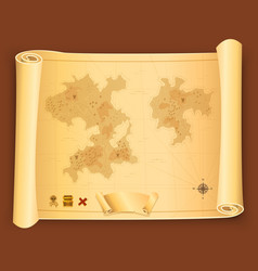 Treasure map on parchment scroll vector