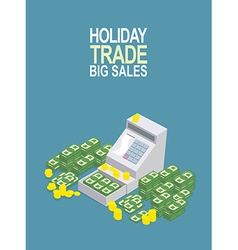 Feast day of trade open ticket office with a lot vector