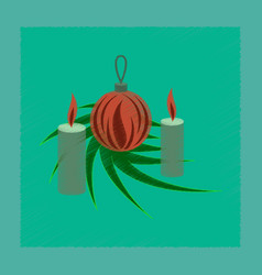 Flat shading style icon christmas balls and vector