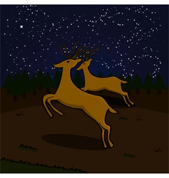 Reindeer at night vector image vector image