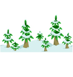 Snow winter forest in horizontal seamless border vector image