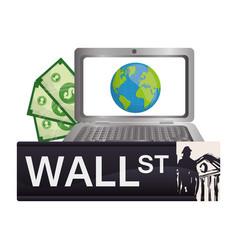 Wall street laptop online world money vector
