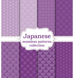 10 different japanese asian seamless patterns vector image