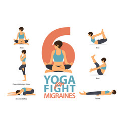 6 yoga poses for concept fight for migraines vector