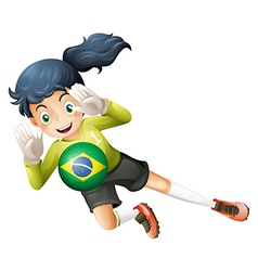 A soccer player using the ball from Brazil vector image