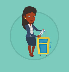 african business woman showing luggage tag vector image
