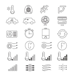 Air conditioning cooling thin line icons vector