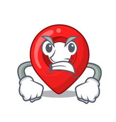 angry map pointer navigation pin mascot cartoon vector image