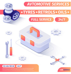 automotive service tools shop advertising banner vector image