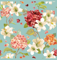 Autumn hortensia and lily flowers background vector