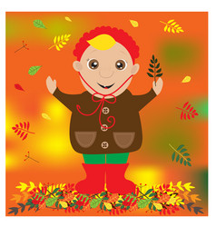 autumn with cute child with leaf in a vector image