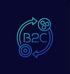B2c business to consumer thin line icon vector