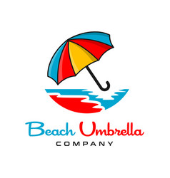 beach umbrella logo design vector image
