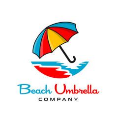 beach umbrella logo design vector image