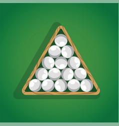 Billiard balls in triangle on green pool table top vector