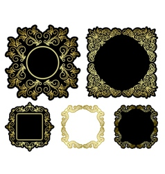 black and gold beautiful frames - vintage vector image