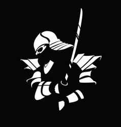 Black white samurai figure with sword vector